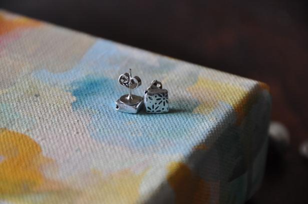 Silver Bead Stud Earrings